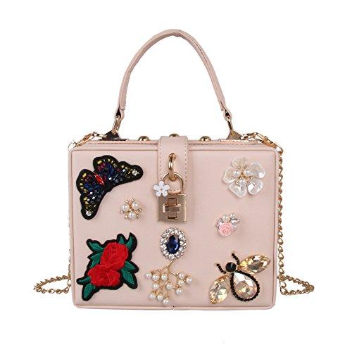 Borse Sera Womens Butterfly cena ricamo Borsa Perle di lusso diamante fiore Borsetta tracolla apricot