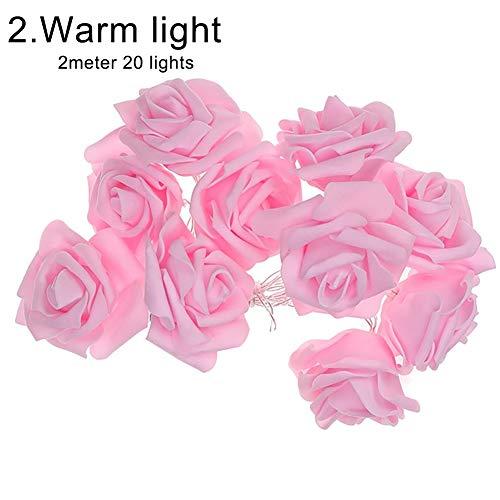 Sguan-wu 3/2 / 1m PE Rose Flower Fairy Light Urlaub Weihnachtsbaum Shop LED Lampe Dekor - Rosa Rose Warm White Light 2m 20LED
