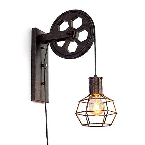 Producto: Lámpara de pared Material: hierro + madera. La polea está hecha de madera y los otros accesorios están hechos de hierro. Tamaño de la lámpara de pared: H 48x W 16 ((cm) Versión: E27 Voltaje: 220V Peso: alrededor 1500 gramos Estilo: diseño r...