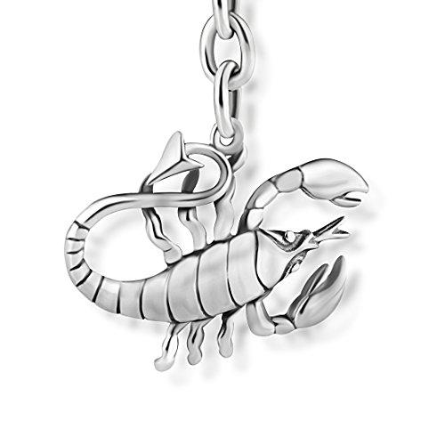 STERLL Herren Schlüssel-Anhänger Sternzeichen Skorpion Silber 925 Oxidiert Schmuck-Beutel Originales Geschenk für Mann