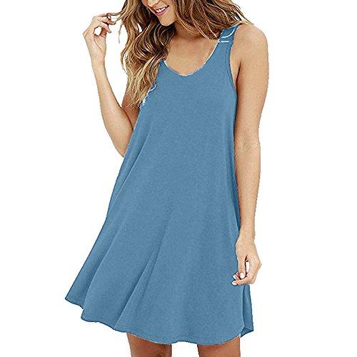VEMOW Sommer Elegante Damen Casual Solid Oansatz Swing Einfache Sleeveless beiläufige tägliche Party Strand T-Shirt lose Camis Kleid(Blau, EU-38/CN-S)