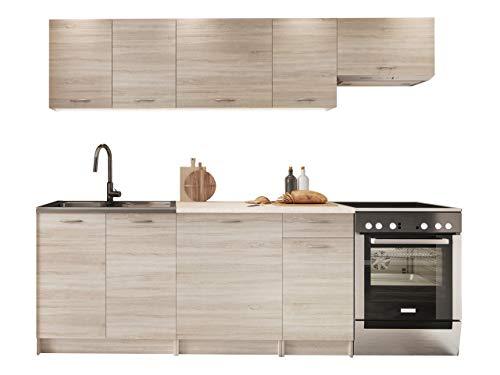 Küche Mela 180/240 cm, Küchenblock/Küchenzeile, Farbauswahl, 7 Schrank-Module frei kombinierbar (Sonoma Eiche/Petra Beige)