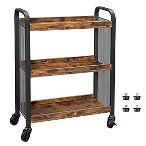 VASAGLE Servierwagen, platzsparender Küchenwagen mit Universalrollen, Küchenregal mit verstellbaren Füßen, stabiles…