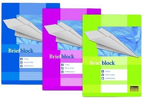 Idena 214009 - Briefblock A4 - blanko/blanco - 50 Blatt - 70g