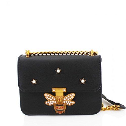 LeahWard Frauen Kleine Kreuz Körper Handtaschen With Chain Mit Kette Faux Lederband Taschen für Frauen CW170155 (Schwarz Biene verschönerte Crossbody Tasche) (Handtasche Kristall-kreuz-umhängetasche)