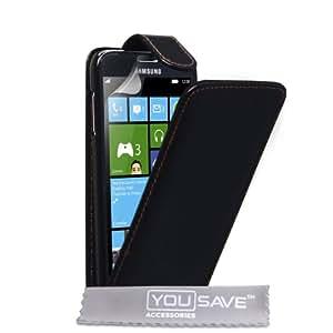Coque Samsung Ativ S Etui Noir PU Cuir Clapet Housse