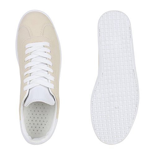 Sneakers Low Damen Herren Profilsohle Freizeit Turnschuhe Trendschuhe Creme