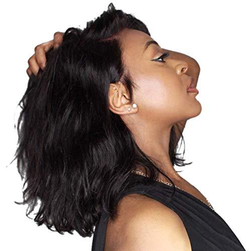 Galatée Frontal De Encaje Peluca de Mujer Ondulado Corto Pelo Sintético Corto Rizado Pelo Calor Resistente 15 Pulgadas Moda Fiesta Pelo Incluye Gratis Rejilla para el Pelo y Peine