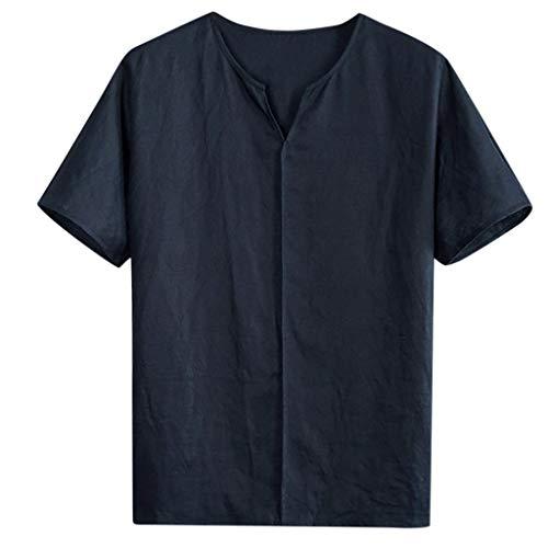 Fenverk Leinenhemd Herren Henley Regular Fit Hemd Sommerhemd Freizeithemden Aus Leinen Und Baumwolle(Marine E,XXL)