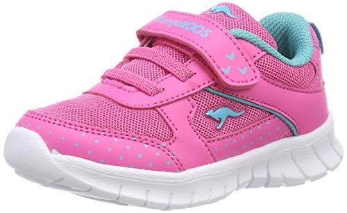 Kangaroos Leder-sneaker (KangaROOS Unisex Baby Minibee Sneaker, Rot (Daisy Pink/Turquoise 6056), 26 EU)