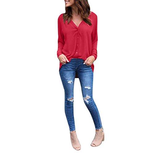 Langarm Shirt Damen Sunday Große Größe Reine Farbe Lose Bluse Freizeithemd Chiffon Freizeit Tops (Rot, S) (Langarm-strickjacke Florale)