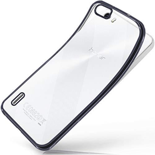 moex Huawei Honor 6 | Hülle Silikon Transparent Anthrazit Chrom Back-Cover Silikonhülle Dünn Schutzhülle Handyhülle für Honor 6 Case Ultra-Slim Tasche TPU
