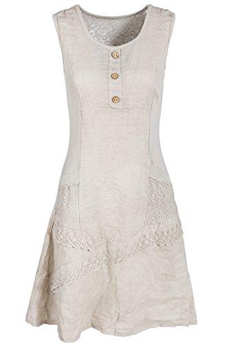 GS-Fashion Leinenkleid Damen Sommer mit Spitze am Rücken KLeid ärmellos knielang Beige 36 (Herstellergröße M)