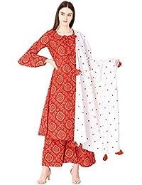 Ortange Women's Cotton Printed Kurta Palazzo And Dupatta Set