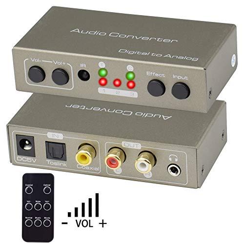 DAC Audio Konverter, Ozvavzk Digital auf Analog Lautstärkeregelung, Digital SPDIF Toslink zu Analog Stereo Audio R/L Wandler Audio Konverter 3.5mm, Mit IR Fernbedienung für HDTV Blu-ray PS3 PS4 Xbox