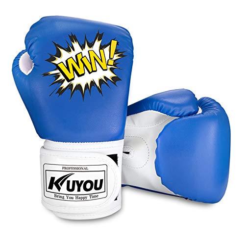 Kinder Boxhandschuhe 4oz Kinder Cartoon Sparring Boxhandschuhe Training Mitts Junior Punch PU Leder Alter 5-12 Jahre (blau)