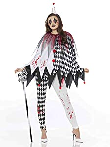 Karnival Costumes- Halloween Harlequin Poncho Disfraz, Color blanco y negro, extra-large (84200)