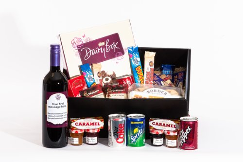 Large Personalised Sweet Treats Merlot Hamper. Great gift for Birthday, Anniversary, Engagement, Easter, Mother's day, Father's day, Valentine's day, Wedding or Christmas gift idea