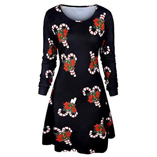 (Frauen Langarm Dress Damen Weihnachten Bluse weibliche gedruckt Langarm oansatz Abend Prom kostüm Druck schaukel Dress Moonuy)