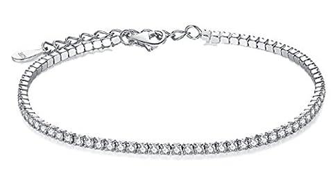 SaySure - 925 Sterling Silver Link Chain Bracelet Bangle Sparkling