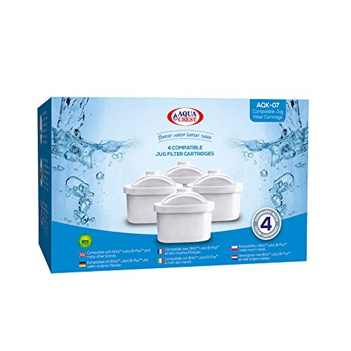 4 x AquaCrest AQK-07 reemplazo del filtro de jarra de agua para Brita Maxtra, Mavea, Laica Bi-Flux, Dafi Unimax, Aquaphor Maxfor, AmazonBasics, PearlCo Unimax, Aluna Cool, Lauson AWF102, Aqua Optima Evolve, ANNA Duomax