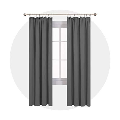 Deconovo Verdunkelung Fenstervorhang Sonnenschutz mit Kräuselband 245x140 cm Hellgrau 2er Set