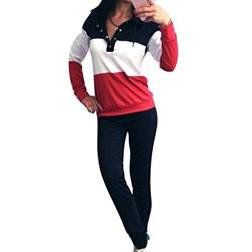 Damen Freizeitanzug Trainingsanzug Frauen Sportswear Hoodies Sweatshirt Pullover Elegant Sweathosen Gym Fitness Anzug Loose Fit Jumpsuit Jogginganzug Tracksuit Hausanzug Schlafanzug S Kootk