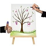 Herzl-Manufaktur Fingerabdruckbaum Mädchen, Leinwand 30x40cm, Gästebuch zur Taufe, Geburt, Geschenk, Erinnerungsbaum, Pullerparty