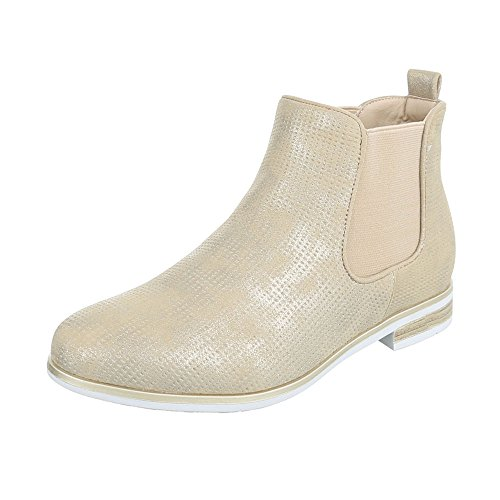 Ital-Design Chelsea Boots Damen-Schuhe Chelsea Boots Blockabsatz Blockabsatz Stiefeletten Beige Gold, Gr 40, H717-
