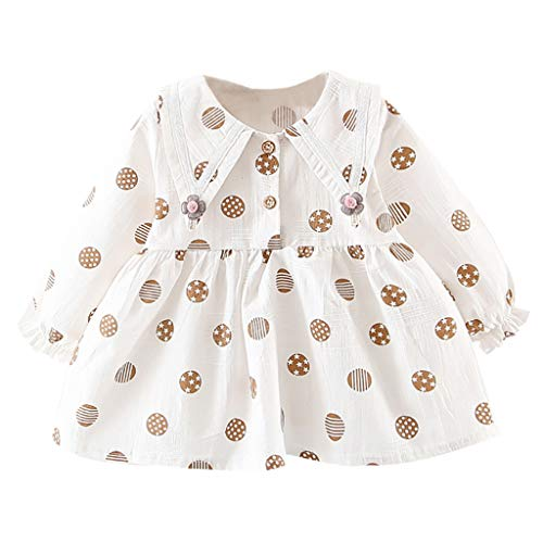YWLINK Baby MäDchen RüSchen Lange ÄRmel Blumendruck Kleider Bequem Klassisch Süß Party Prinzessin Kleid (Weiß,8)