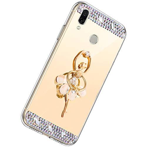 Herbests Kompatibel mit Huawei Honor Play Handyhülle Glitzer Diamant Glänzend Spiegel Handytasche Durchsichtig Kristall Bling Schutzhülle Case mit 360 Grad Ring Ständer Halter,Gold