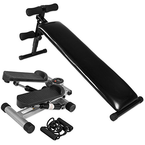 Gorilla Sports Bauchtrainer Sit Up Negativ Bank + Aerobic Mini Fitness Stepper inkl. Expander Elastic Bänder