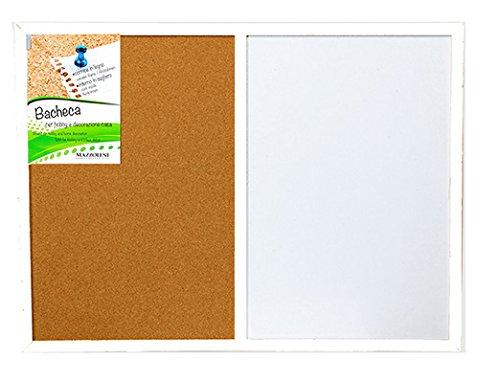 Tableau d'affichage, mémo, double usage, magnétique et liège, cadre en bois blanc, cm 45 x 60