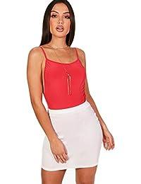 YourPrimeOutlet rot Damen Leah Rückenfreier, fließender Body mit Trägern e2cc7de6df