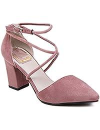 Minetom Mujer Elegante Nubuck Zapatos Puntiagudos Cruz Correa De Tobillo Sandalias Con Tacón Grueso