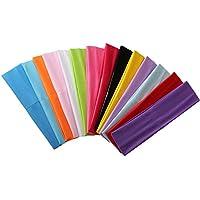ZYCC 14 Pièces Coloré Sports Bandeau Monochrome Élastique Cheveux Bande Yoga Fitness Femmes Hommes