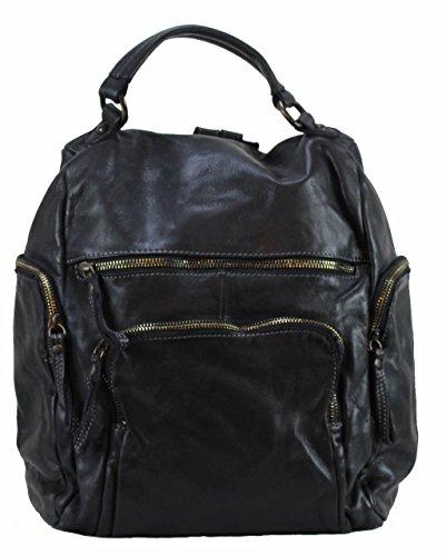 BZNA Bag Stella nero Backpacker Designer Rucksack Damenhandtasche Schultertasche Leder Nappa sheep ItalyNeu
