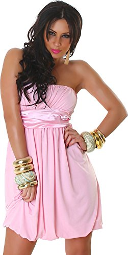Jela London Damen Kleid Cocktailkleid Ballonkleid Bandeau Falten - Rosa, 32-38 (London Bandeau)