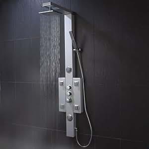 TRUSP303 Colonne de douche Thermostatique Bora Bora - Coque en aluminium. Mélangeur, Pomme haute, buses de massage, douchette avec sécurité anti-brûlure