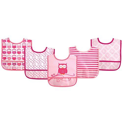 Luvable Friends 5 Pack Baby Easy Clean Elephant PEVA Waterproof Bibs (Pink Owl)
