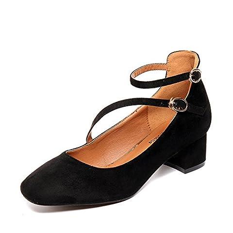 lady,printemps,rough avec,chaussures nue/rétro,une boucle,chaussures low-cut-A Longueur du pied=24.3CM(9.6Inch)