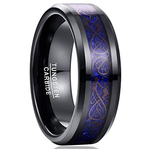 NUNCAD Wolfram Ring Herren Damen Unisex Keltische Drachen 8mm Schwarz + Kohlefasern Saphirblau für Fashion Hochzeit Verlobung Geeschenk Größe 57 (17)