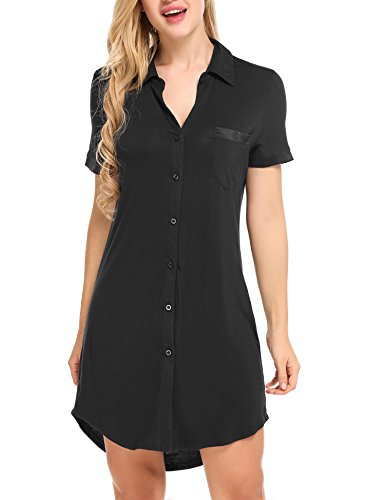 Avidlove Damen Viktorianisch Nachthemd T-shirt Luxus Nachtwäsche Kurzarm