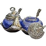 White Box Oxidised Silver Metal Double Duck Shaped Glass Bowl Blue Burni Multi Purpose Kitchen Sugar Or Masala Bowl Decorative Gift Item Showpiece