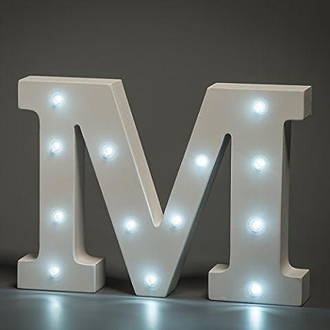 Luces de Madera, VSOAIR Decorativo en las Luces Letra del Alfabeto de Madera MDF Blanco, con Luces LED con Pilas, Carta (M)