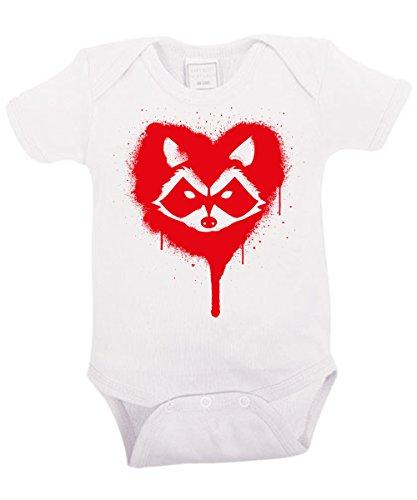 - Rocket was here - Babybody Weiss, Größe 6/12 Monate