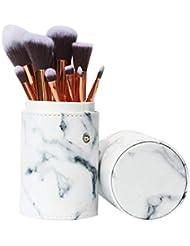 Ruesious 10 pièces par marbre Pinceaux de Maquillage Ensemble avec marbre cosmétiques Outils Sacs
