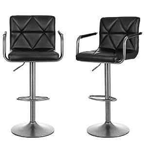 songmics 2er set barhocker mit armlehnen lehnen h henverstellbar 360 drehbar untergestell aus. Black Bedroom Furniture Sets. Home Design Ideas