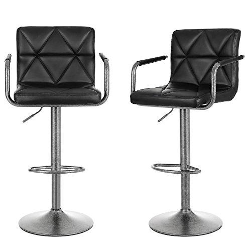 Songmics 2er-Set Barhocker mit Armlehnen Lehnen höhenverstellbar 360° drehbar Untergestell aus Metall schwarz LJB93S