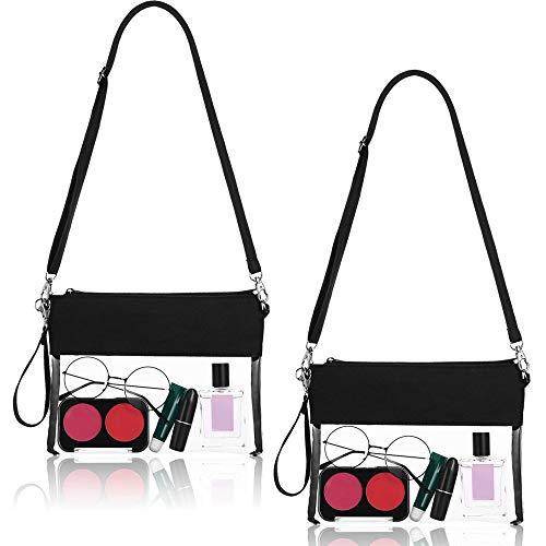 Frienda 2 Packung Klar Tasche Crossbody Handtasche Stadion Einkaufstasche Transparente Umhängetasche mit Verstellbarem Schultergurt und Trageschlaufe für Arbeit Schule Sport und Konzerte